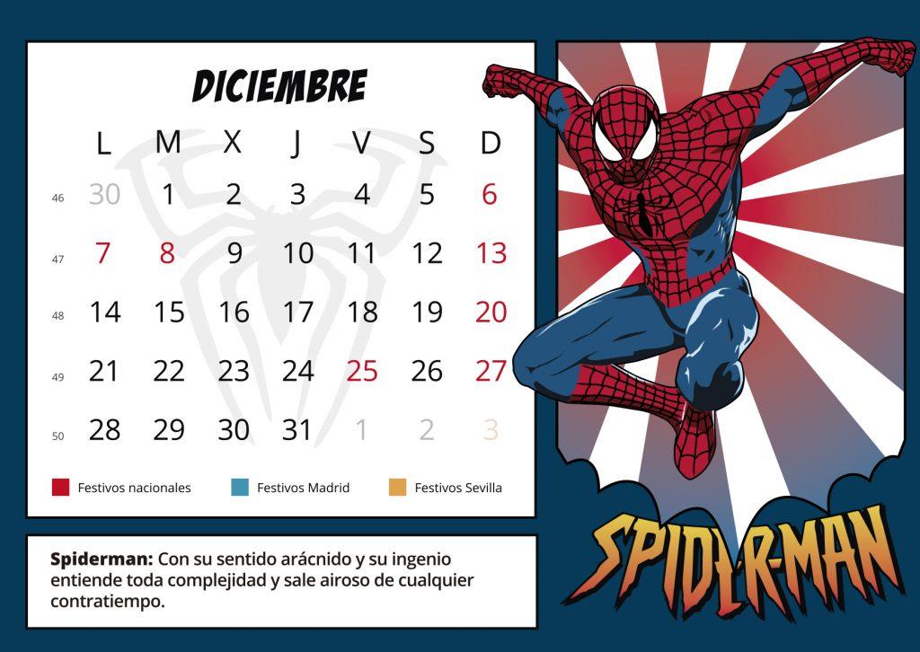 Ilustración, diseño y maquetación Diciembre, calendario corporativo (OS)