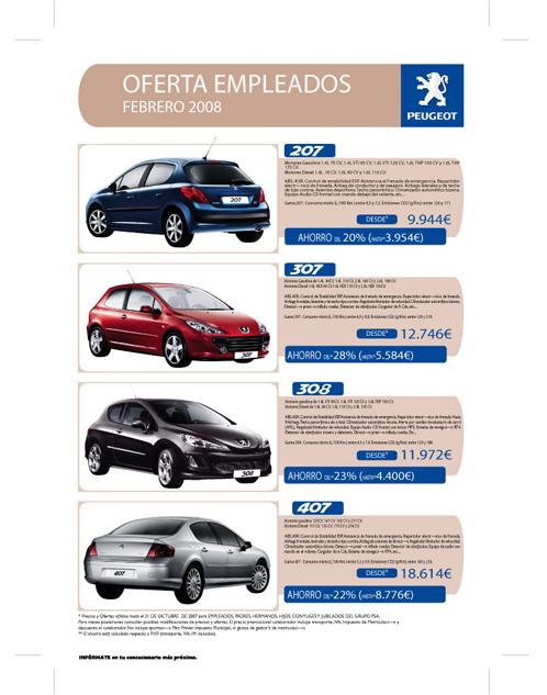 Boletín de ofertas para empleados (Peugeot)