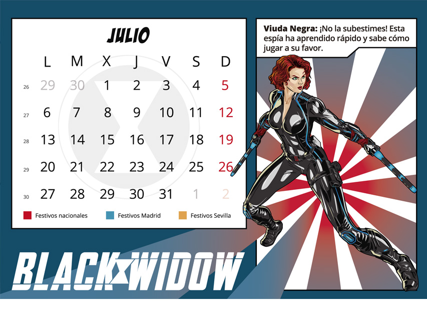 Black widow. Ilustración digital Calendario corporativo. Mes de Julio
